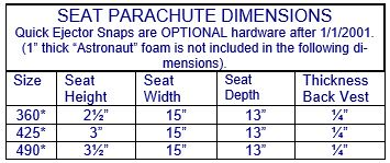 National Parachutes Inc. Seat